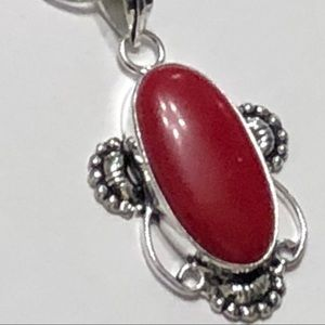 JK Designs Jewelry - 2-inch Red Coral Gemstone Necklace .925 SS plated